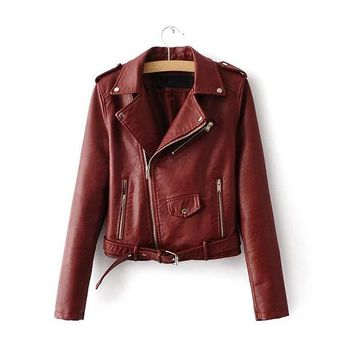 Good Quality Bright Color Ladies PU Leather Jacket