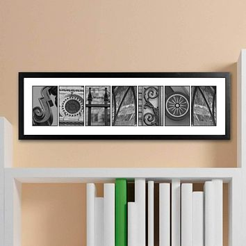 Personalized Family Name Sings - Architectural Elements Alphabet - Black and White