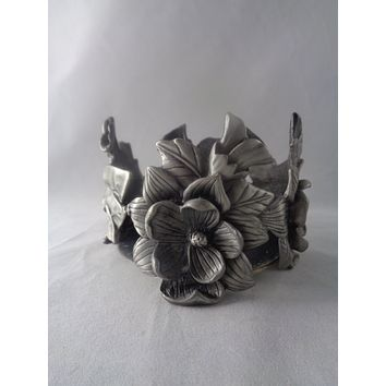 Pewter Candle Holder With Flowers