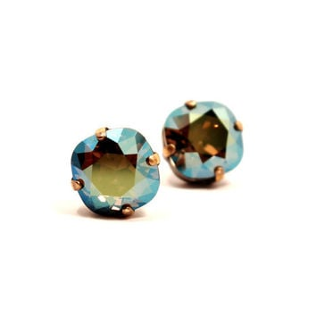 Iridescent Green Crystal Studs