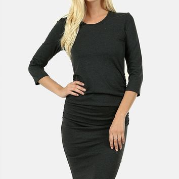 Charcoal 3/4 Sleeve Dress with Shirring Detail