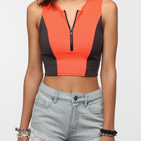 Urban Outfitters - Daydreamer LA Scuba Zip-Up Cropped Tank Top
