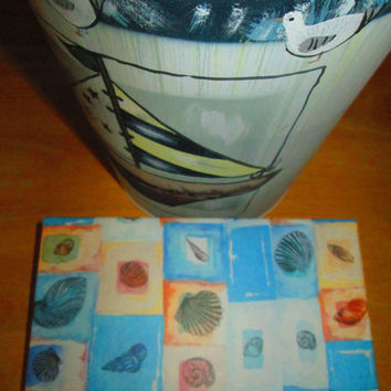 2 Aloe Vera Dolphin and 2 Cocoa Lighthouse Soaps Gift Set, bath or shower. Two cloth guest towels beach theme, photo album, metal bucket.