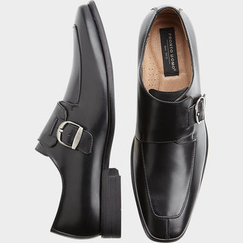 PRONTO UOMO GALLO BLACK MONK STRAP SHOES