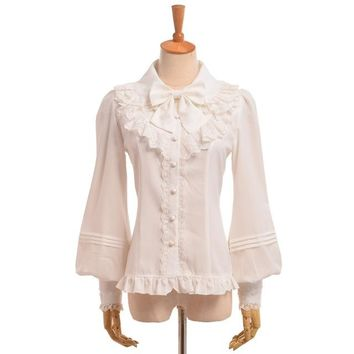 Medieval Women Victorian Lace Blouse Sweet Vintage Lolita Chiffon Vestido Bow Shirt with Bow