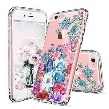iPhone 6 Case, iPhone 6s Cover, MOSNOVO Floral Flower Garden Pattern Printed Clear Design Transparent Plastic Hard Slim Back Case with TPU Bumper Protective Case Cover for Apple iPhone 6 6s (4.7 Inch)