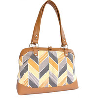 Laptop Bag Yellow and Gray Chevron - Laptop Tote - Womens Laptop Satchel - Canvas and Vegan Leather