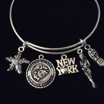 Custom 26.2 Runner Marine New York Starfish Expandable Charm Bracelet Adjustable Bangle Gift USA Military Jewelry