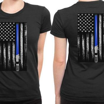 DCCKG72 Star Wars Light Saber Usa Flag 2 Sided Womens T Shirt