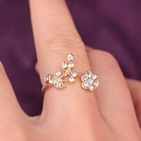 Gift New Arrival Jewelry Shiny Korean Stylish Diamonds Leaf Floral Ring [6573103687]