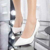 Plus Size 24-42 Women Shoes Pointed Toe Pumps Patent Leather Dress Shoes High Heels Boat Shoes Wedding shoes zapatos mujer 146