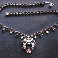 Black Rhinestone Necklace, Prong Clear Rhinestones, Art Deco Necklaces
