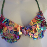 Rainbow Mermaid Bra Top Made to Order 2 Week Turn Around TIme