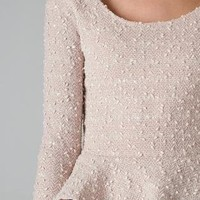 Taupe Sequin Long Sleeve Peplum Top