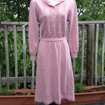 70s Leonard Sunshine Pink Angora Sweater Dress, S