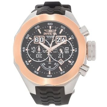 Invicta 16929 Men's I-Force Chronograph Black Dial Rose Gold Bezel Silicone Strap Watch