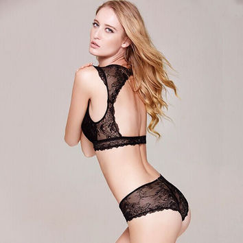 Black Hollow Out Lace Ladies Sexy Lingerie = 5990193537
