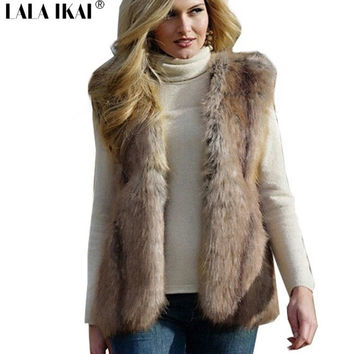 Women Faux Fur Vest Fur Gilet Long winter fur sleeveless fur coat outerwear