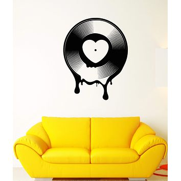Vinyl Wall Decal Vinyl Record Vintage Retro Music Heart Stickers (2992ig)