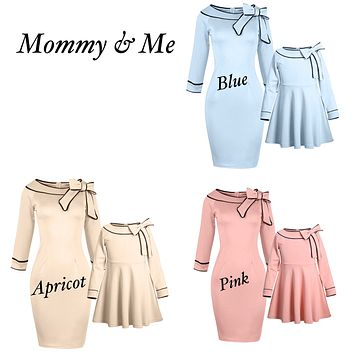 Mommy and Me Audrey Hepburn Inspired Bow-Knot Dress