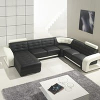 Divani Casa T139 - Modern Black and White Bonded Leather Sectional Sofa