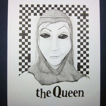 THE QUEEN,  Chess Series: Original art, black and white art, surreal portrait, pen and ink drawing, ink illustration, pen drawing 8x10