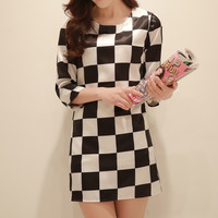 Checkered Long Sleeve Dress