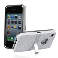 White Hard Checker Textured Plastic Skin Case Cover with Chrome Stand for Apple iPhone4 4G 4S+One Cute Sexy Red Bra Key Chain Charm Strap