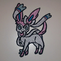 Sylveon - Iron on patch - Shiny Metallic Embroidered.   Pokemon patch.