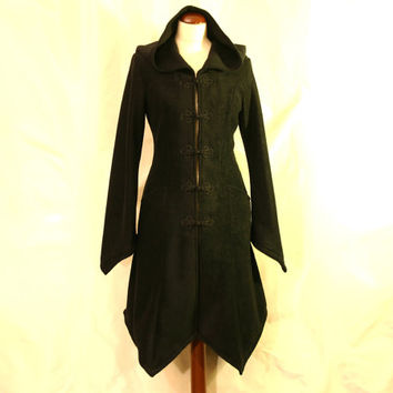 Made to Order: Knee Length Knot Buttoned Boho Psy Elven Fleece Spring Coat with Pixie Hood, Custom size and Color