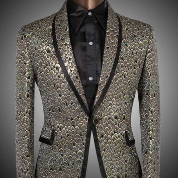 Men's Golden And Silver Scale Designer Suits Up To 6XL