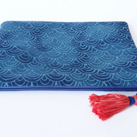 Navy & Turquoise Asian Inspired Waves Scales Lined Zipper Pouch Handbag Clutch Accessories Case With Tassel 100% Cotton