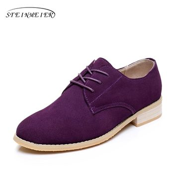 Genuine leather big woman US size 11 designer vintage flat shoes round toe handmade purple 2017 oxford shoes for women with fur