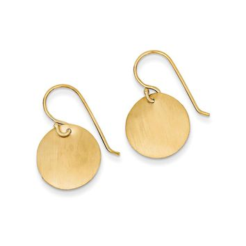 14mm Satin Circle Disc Earrings in 14k Yellow Gold