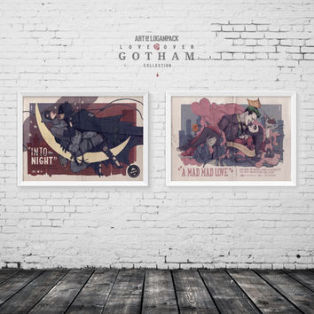LOVE OVER GOTHAM - Batman and Catwoman - Joker and Harley Quinn - Classic Film Style Posters - Companion Set - Original Art Poster Set