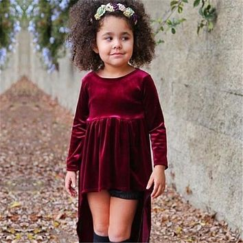 Cute Baby Girls Kids Toddler Clothes round neck long sleeve solid cotton Asymmetrical Hem Autumn Pleuche Dresses one pieces