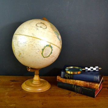 Vintage World Globe, Replogle Globe, World Classic Globe, 12 Inch Diameter, Maple Wood Base, Sphere Globe Neutral Colors