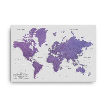 Watercolor World Map For Wall To Pin