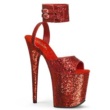 Red Glitter Ankle Strap Sandal 8 Inch Heels Stripper Shoes