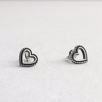 925 Sterling silver Open Heart / Star Antique Stud Earrings, E1089S