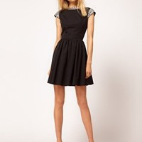 ASOS Skater Dress with Embellished Collar at asos.com