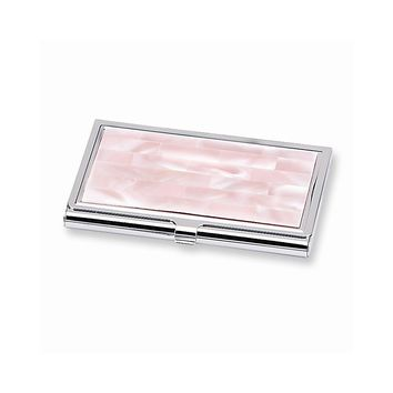 Pink Mother of Pearl Business Card Holder - Engravable Personalized Gift Item