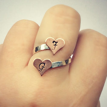 custom heart initial ring sterling silver, customizable ring, vanentines jewelry, couples ring, gift for girlfriend