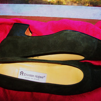 Amaizing Vintage Shoes ETIENNE AIGNER Black Leather/Suede Low Heels Women Loafers Size 9 N/40  Made in Spain