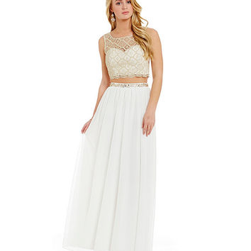 Sequin Hearts Metallic Chemical Lace Illusion Yoke Top Two Piece Gown | Dillards