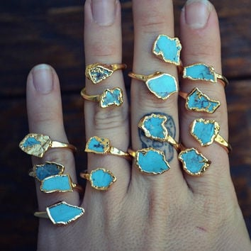 LUX DIVINE /// Semi Adjustable Turquoise Wrap Ring /// Stackable Gemstone Gold Electroformed Ring