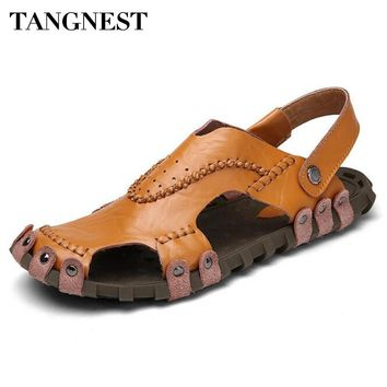Tangnest Classic Gladiator Sandals 2017 Summer Men Beach Slippers Genuine Leather Fisherman Shoes Man Closed Toe Sandals XML203