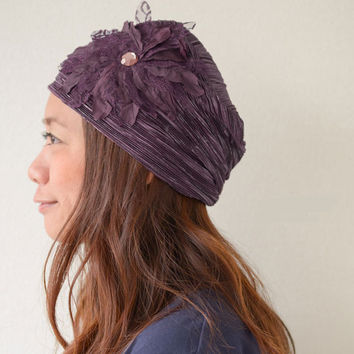 The Mela - floral decorated beanie hat