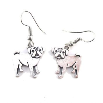 Adorable Pug Puppy Dog Shaped Dangle Earrings in Silver