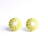 Light Green Geometric Print Fabric Covered Button Earrings NICKEL FREE
